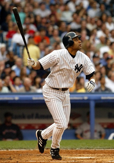 Tony Clark watches his two-run home run off Boston Red Sox pitcher Pedro Martinez in the second inning back on July 1, 2004 at Yankee Stadium.