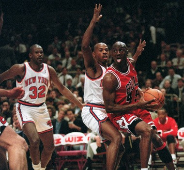 Michael Jordan, shown here in the 1995 Eastern Conference playoffs against the Knicks, makes Mark Eckel's Mount Rushmore of NBA players as well as his all-time, all-sports Rushmore.