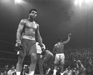 Muhammed Ali after the Joe Frazier-Ali fight at Madison Square Garden in 1971. Ali makes Mark Eckel's boxing Mount Rushmore as well as the all-time, all-sports Rushmore.