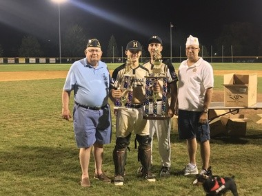 American Legion Final Eight MVP Luke Blair gets his trophy with Hopewell Post 339 head coach Mike Coryell Thursday, July 27, 2017.
