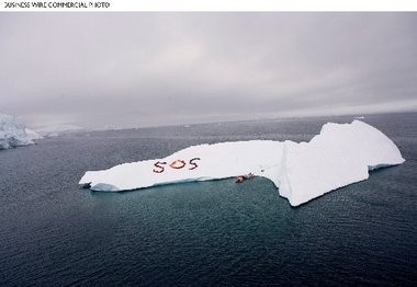 Antarctic SOS: A Global Green/Green Cross delegation including researchers, business leaders and representatives of 13 nations scaled an iceberg to deliver a message about climate change. Image produced in the Gerlache Strait, in the Antarctic peninsula by John Quigley of Spectral Q, and shot by photographer and Global Green board member Sebastian Copeland.