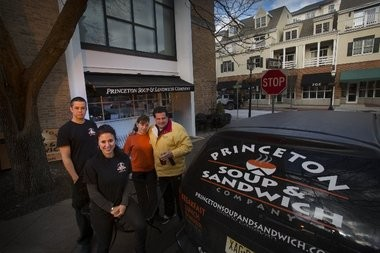 Owner Lisa Ruddy, front, joins staff members, from left, Manny Machado, Elena Vazquez and Robert Ilvento in front of the Princeton Soup & Sandwich Company on Palmer Square.