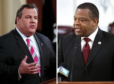 Trenton Mayor Tony Mack, right, has asked N.J. Gov. Chris Christie, left, to fund the hiring of 75 additional Trenton police officers with state funds amid a surge in violent crime in the city.