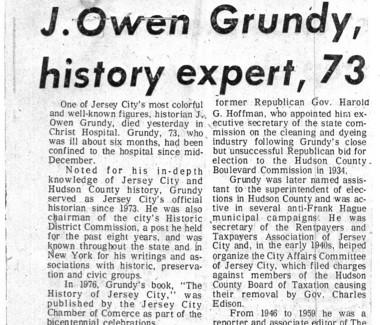 Jersey Journal obituary for Jersey City City Historian J. Owen Grundy, Jan. 29, 1985