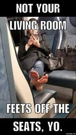 A commuter created meme asking riders to keep feet of the seats (Delayed on NJ Transit group)