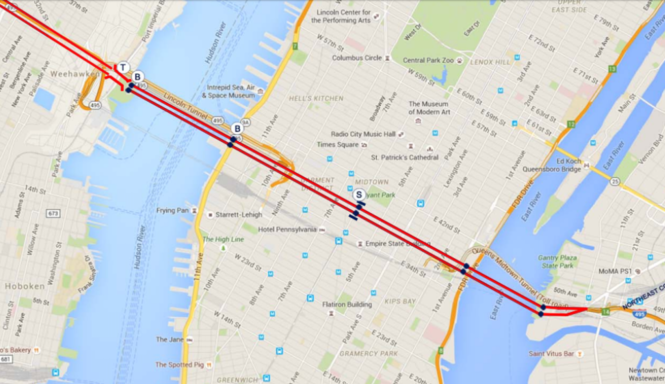 A map shows where the proposed Empire State Gateway bridge project would be located in New Jersey and how it would cross Manhattan, in addition to showing the location of bridge towers and a midtown rail station. (Tevebaugh Associates Architects)