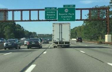 A truck on the Garden State Parkway in Union County, which trucks are banned from