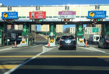"Drivers stop at a toll plaza in East Orange on the Garden State Parkway. An analysis said future toll increases could encourage traffic to take ""free"" highways."