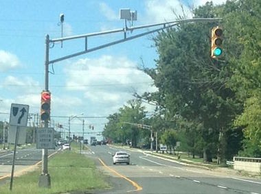 What are these mysterious white squares on N J  traffic