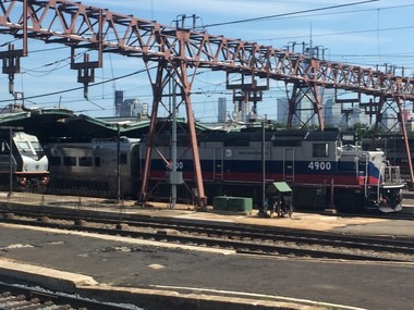 A file photo showing NJ Transit and Metro North trains in Hoboken Terminal. Two cars of an NJ Transit train derailed entering this section of the terminal on Sunday.