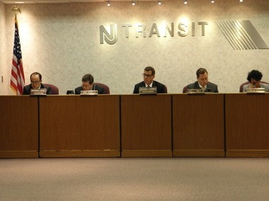 NJ Transit's board of directors seen during the June meeting. A bill that has gone to the governor would add two commuters to the board.