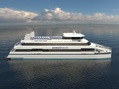 A rendering of Seastreak's new Coomodore class ferry, which is under construction and expected to enter service later this year. (Seastreak photo)