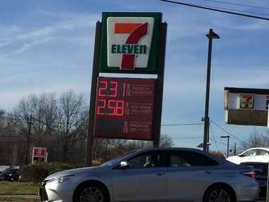 This price at a 7-11 station on West Pond Road in Woodbridge was below the state average for regular on Friday.