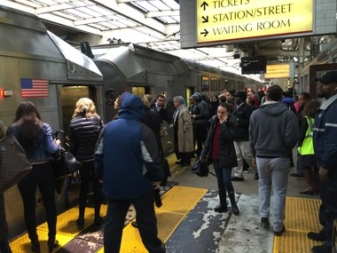 Commuters try to board a crowded New York train at Penn Station Newark during four days of reduced rail service after an Amtrak derailment in Penn Station New York on April 3.