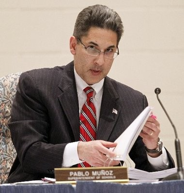 The attorney for Elizabeth schools Superintendent Pablo Munoz, pictured, and former school board president Rafael Fajardo said he will ask the state Supreme Court to reconsider its decision to not hear an appeal by the two men of a lower court ruling that would oblige them to repay legal fees.