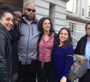 Gerard Richardson with family and supporters in front of the Federal Building in Newark this evening after he was released from prison.