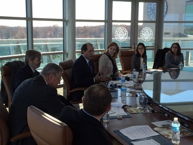 State lawmakers and other officials sit around the conference table Kean University purchased for $219,000 during a recent discussion about New Jersey's heroin epidemic.