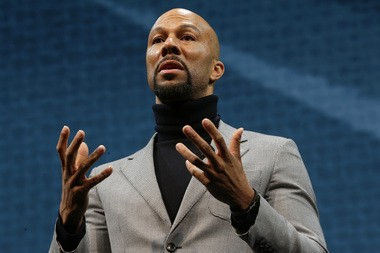 Singer and actor Lonnie Rashid Lynn, better known by his stage name Common, speaks Wednesday, March 18, 2015 at Starbucks Coffee Company's annual shareholders meeting in Seattle. (AP Photo/Ted S. Warren)