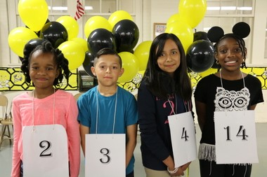 From the left, Brittany Lubintus and Danny Ayala tied for first, Jocelyn Pico finished second, and Joriah Williams, third, in the Plainfield Elementary Schools' Tri-School Spelling Bee.