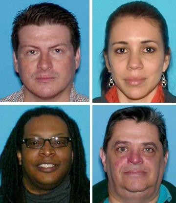Juan Donoso, top left, Kirk Nelson, bottom left, and Frank Capece, bottom right, were named in the new indictment. Olga Oviedo-Arevalo, top right, was charged in an April criminal complaint and admitted into the Pre-Trial Intervention Program.