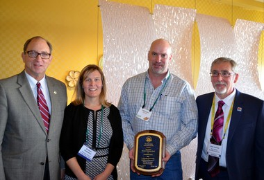Greg Donaldson of Donaldson Farms in Hackettstown, was presented with the New Jersey Agricultural Society's Tony Russo Farmers Marketing Award on Feb. 4, at the New Jersey State Agricultural Convention in Atlantic City. Pictured (from left) are NJ Secretary of Agriculture Douglas H. Fisher; Kristina Guttadora, Exec. Director of NJ Agricultural Society; Greg Donaldson; Jerry Verrico, Pres. NJ Agricultural Society. (courtesy photo)