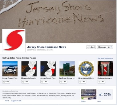 A screen grab of the popular Jersey Shore Hurricane News page on Facebook.