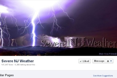 A screen shot of the Severe NJ Weather page on Facebook.