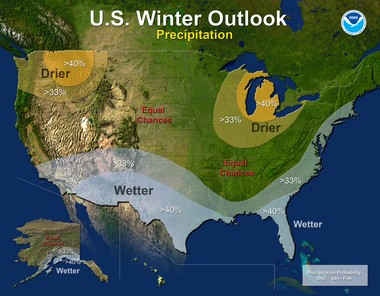 The Climate Prediction Center says New Jersey could see above average precipitation this winter but otherwise expects a normal winter.