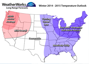 WeatherWorks believes that cold conditions are the safest bet for the winter of 2014-2015 in New Jersey