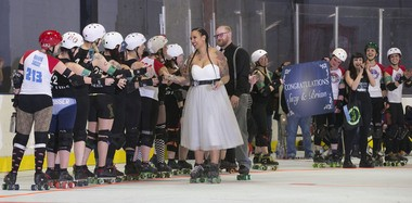"""The Garden State Rollergirls congratulate their teammate Suzanne Baucom, also known as """"Double Tuf Oreo"""" and her husband Brian Ross after the couple exchanged vows in North Arlington. (William Perlman   NJ Advance Media for NJ.com)"""