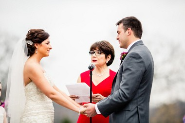 Jessica Rylick's aunt, Angela Scalpello, became an ordained minister to officiate her niece's wedding. (Dennis Pike Photography)