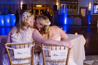 """Jessica Binns and Danielle Vinci had some help from the film """"Miss Congeniality"""" in deciding on their wedding date. (George Koroneos/GLK Creative)"""