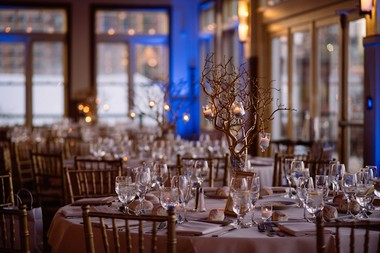 Danielle Vinci and Jessica Binns made the centerpieces for their wedding reception. (George Koroneos/GLK Creative)