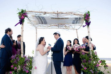 Rebecca Cohen and Raphael Kasen had a custom chuppah made out of birch wood. Kasen honored his late father by having his talis on the chuppah. (Allie Skylar Photography)