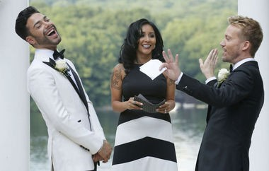 "Nicole ""Snooki"" Polizzi became an ordained minister in order to marry her hair stylists and friends, Luis Miller, left, and Bradley Moreland. (John Munson 