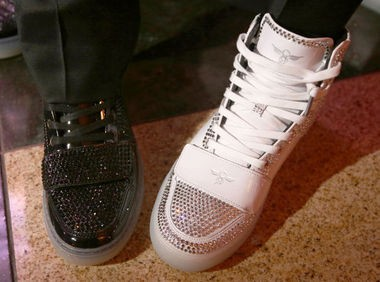 Bradley Moreland and Luis Miller wore matching custom-made sneakers by Creative Reaction with Swarovski crystals. Both pairs cost $6,500. (John Munson | NJ Advance Media for NJ.com)