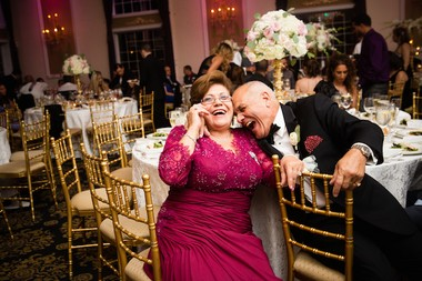 Groom Ashraf Habib enjoys a light moment with his mother, Jackie, at his wedding reception at the Estate at Florentine Gardens in River Vale. (Asya Photography)