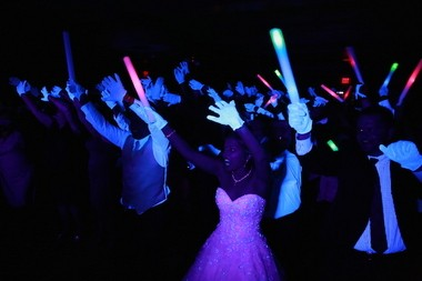 Gary Bifano and Christina McNulty during the black light party at their wedding reception. (Absolute Celebrations)