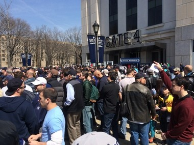 New league-mandated security measures caused long lines for fans trying to enter Yankee Stadium on Opening Day. (Maria Guardado for NJ Advance Media)