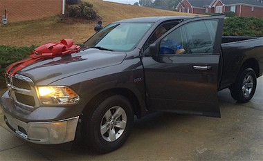 Mark Frazier, father of Yankees prospect Clint Frazier, was gifted this new truck from his son for Christmas in 2014. (Kim Frazier photo)