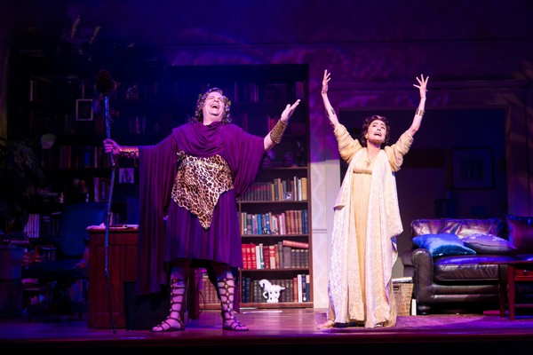 """Ken Ludwig's """"The Gods Of Comedy,"""" at McCarter Theatre Center, stars Brad Oscar as Dionysus and Jessie Cannizzaro as Thalia."""