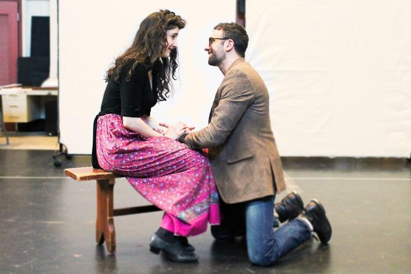 "Lauriel Friedman and Benjamin Pelteson rehearse a scene from Mark Harelik's ""The Immigrant,"" at George Street Playhouse through April 7."