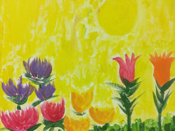 """A rendering of flowers is on display at the """"Art from the HEART"""" exhibit at the Freeholders Gallery in Elizabeth."""