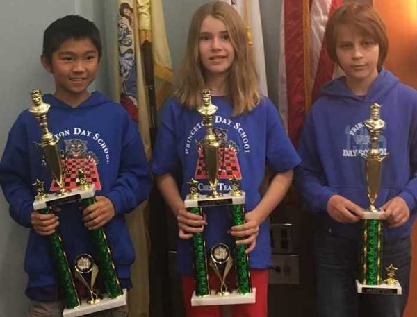 Princeton Day School chess teacher Bonnie Waitzkin reported that at the New Jersey Chess Championship on Sunday, November 19 at Brookdale College in Lincroft, Eric Wu '24 won all five games to win the sixth grade championship title for the fourth year in a row. In the fourth grade competition, Rowan Field won four out of five games for the second place trophy, and fifth grader Adrien Cristian won four games for fourth place.