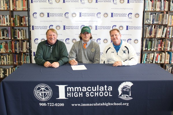 From left, Larry Dwyer; his son, Stephen Dwyer; and, Immaculata High School Lacrosse Coach Tom Mott. (courtesy photo)