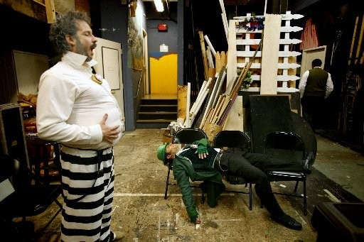 """Gregg Bellon, left, as the corrupt Boss Tweed waits backstage with fellow actor Liche Ariza as a leprechaun in the one-act performance of """"Boss"""" by writer Adrian Rodriguez presented in 2006 as part of the Hudson County One Act Festival theater performance at Stevens Institute of Technology in Hoboken. Author Terry Golway's new book offers a fresh perspective on New York's Tammany Hall political machine."""