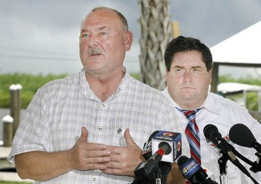 Retired U.S. Adm. Thad Allen, left, the national incident commander during the BP oil spill, and Plaquemines Parish President Billy Nungesser were photographed Aug. 31, 2010, at a news conference at Shady Grove Marina.