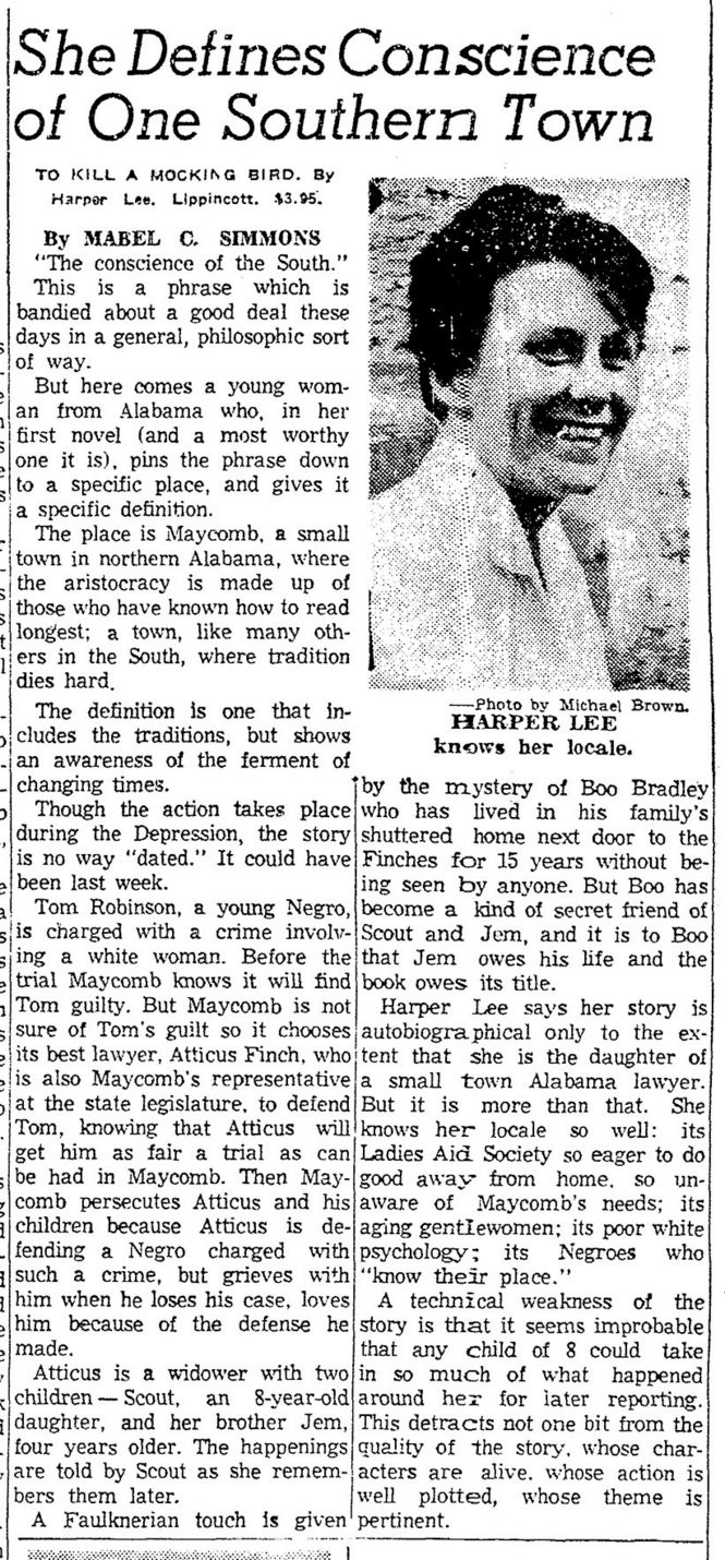 Mabel C Simmons Book Review Of To Kill A Mockingbird Was Published