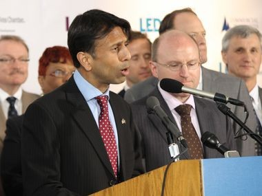 Louisiana Gov. Bobby Jindal announces that IBM is expanding to Baton Rouge at a press conference on Wednesday.