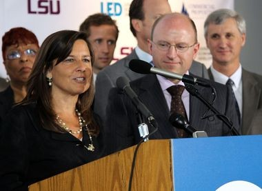 Colleen Arnold, a senior vice president at IBM, speaks at a press conference announcing the company's expansion to Baton Rouge.